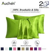 "2 Pack Satin Silk Pillowcase for Hair and Skin, Ultra Silky Satin Pillow Covers with Envelope Closure, Both Sides Artificial Silk, Multiple Colors and Sizes - Standard Size (20""x26"")  Green"