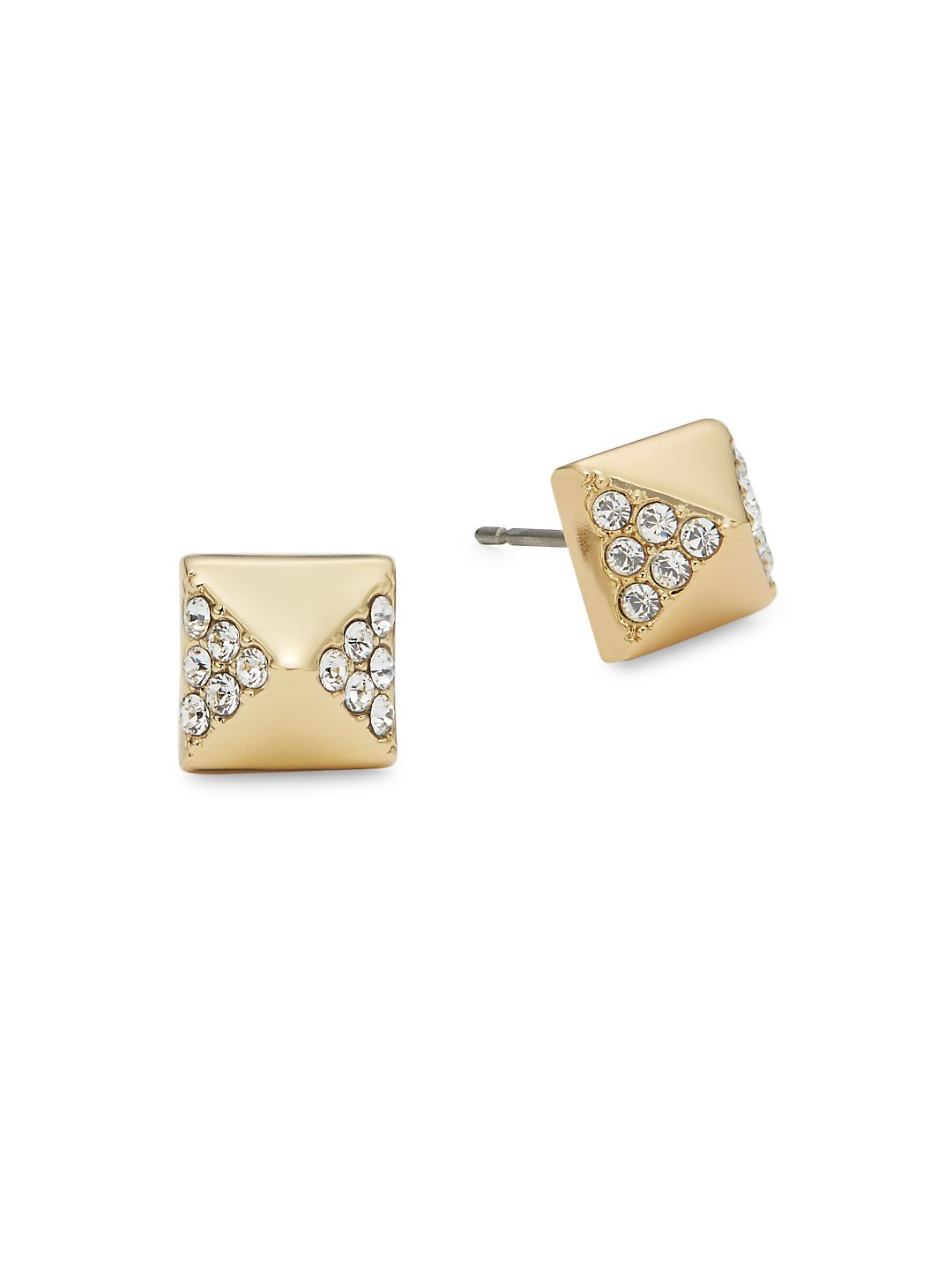 Pave Pyramid Post Earrings