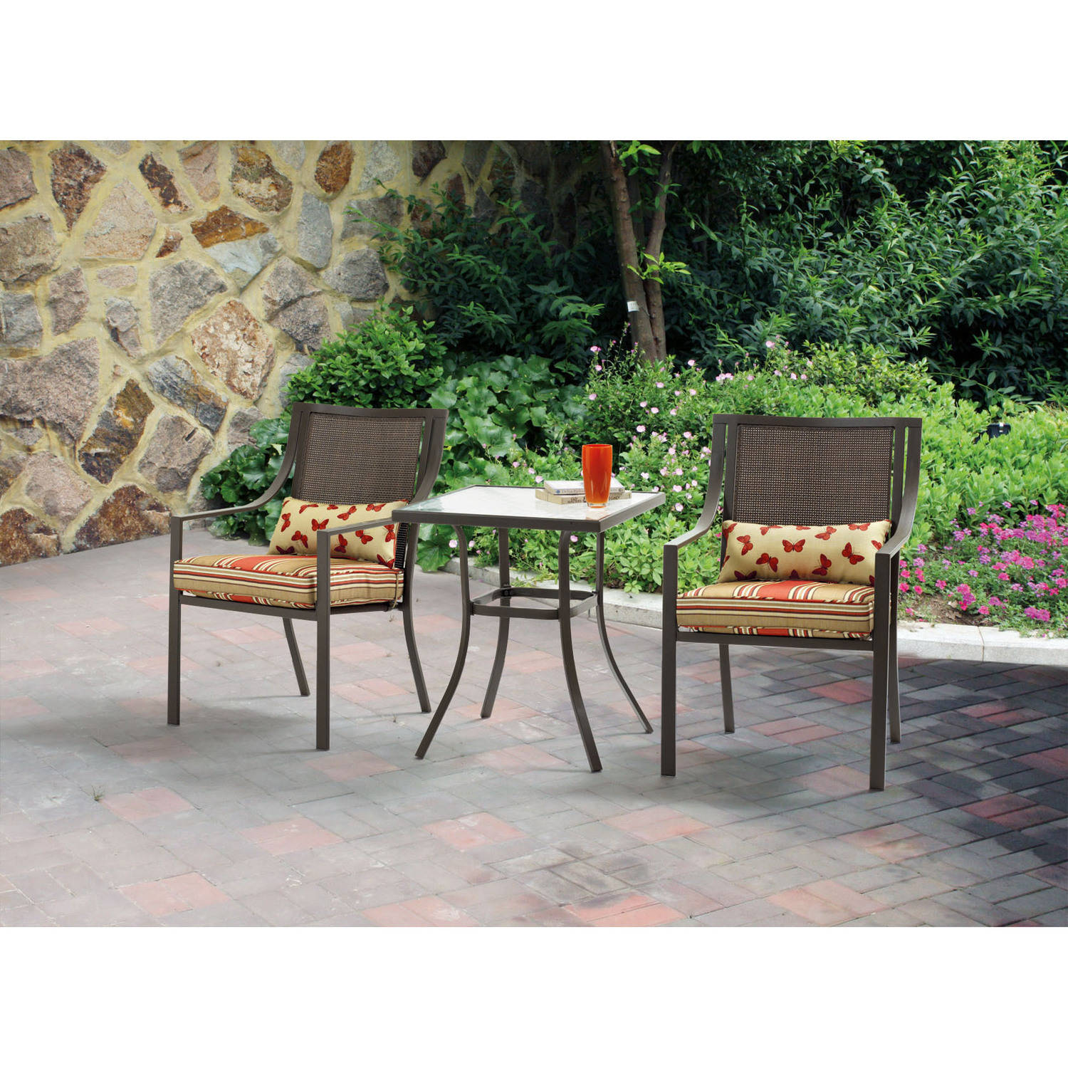 mainstays alexandra square 3piece outdoor bistro set red stripe with butterflies seats