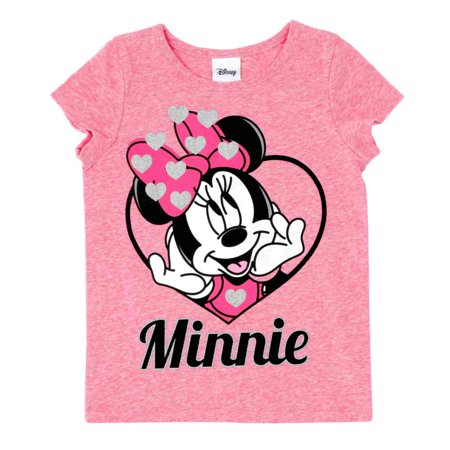 Disney Infant Toddler Girls Minnie Red Glitter Heart Valentine T-Shirt Tee - Girls Glitter Toms