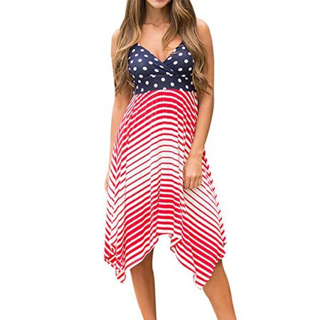 4th Of July Women's Spring Summer Fashion Wave Point Strap Sling Dress (4th Of July Dress)