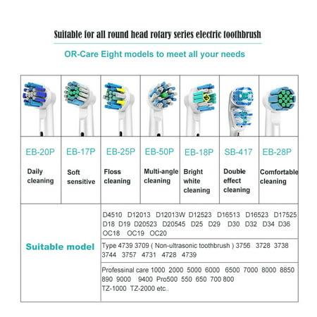 Chainplus Oral B 3D Replacement Brush Heads, Complete Care Replacement Tooth Brush Heads, 4 Count, EB18-P - image 7 de 8
