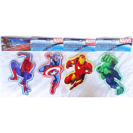 3D Spider-man, Captain America, Hulk, Iron Man Foam Wall Decorations -Set of 4!, Official Licensed Marvel Product By - Hulk Decal