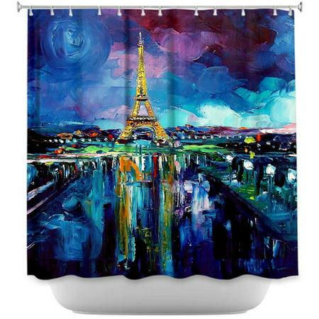 DiaNoche Designs Parisian Night Eiffel Tower Shower Curtain
