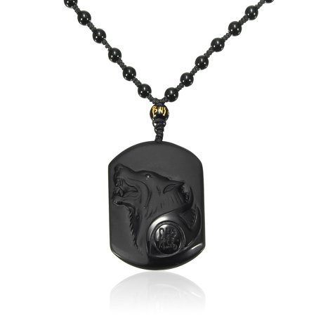 Natural Handwork Carved Black Obsidian Wolf Head Lucky Pendant w/Beads Necklace Jewelry Gift