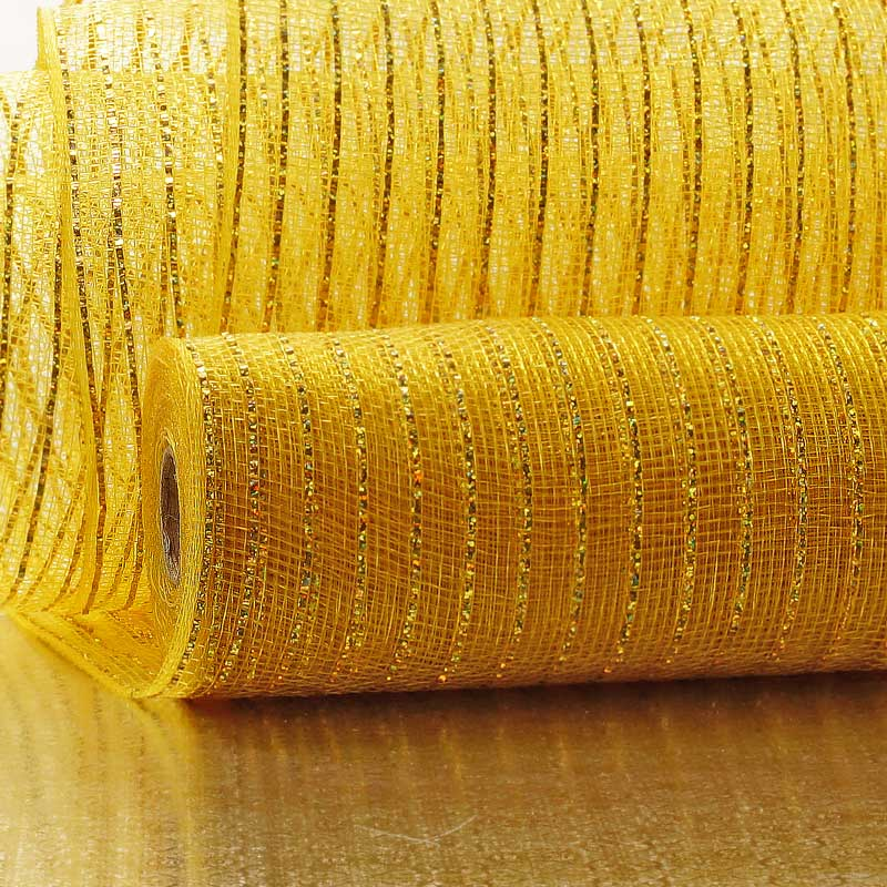 "21"" X 10 Yards Gold/Lt Gold Deco Mesh W/Metallic Stripe by Paper Mart"