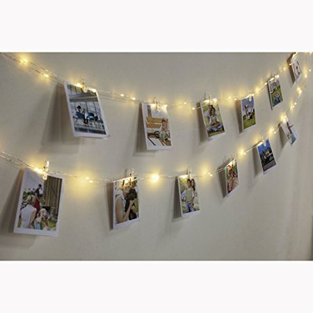 Led Photo Clip String Lights Edola Warm White Flexible Copper Wire Battery Ed Hanging