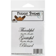 "Riley & Company Funny Bones Cling Stamp, 1.5"" x 2.5"", Thankful Grateful Blessed"