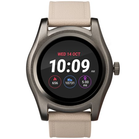 UPC 194366000108 product image for iConnect by Timex Gunmetal Round Touchscreen Smartwatch, Beige Silicone Strap | upcitemdb.com