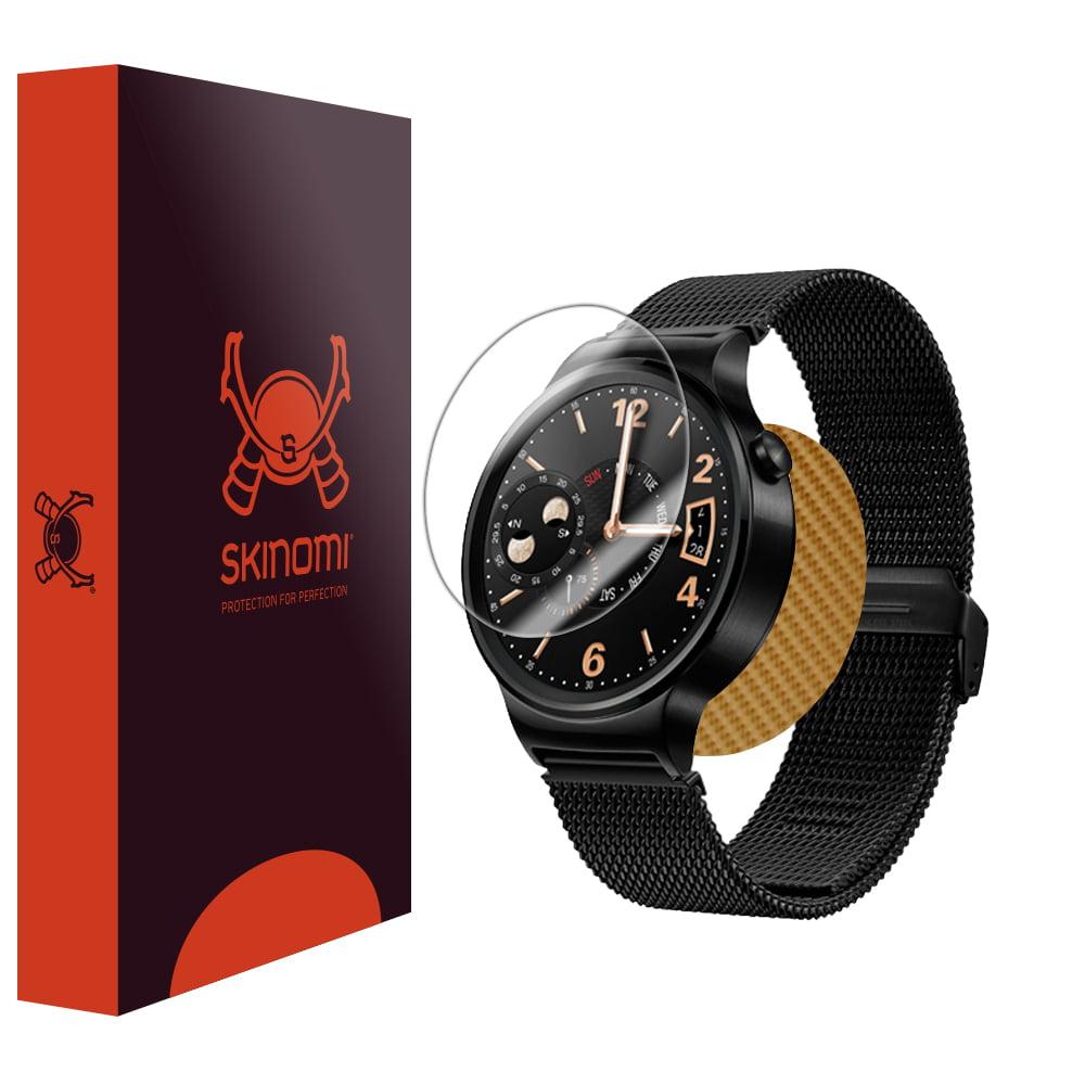 Skinomi TechSkin - Gold Carbon Fiber Skin & Screen Protector for Huawei Watch