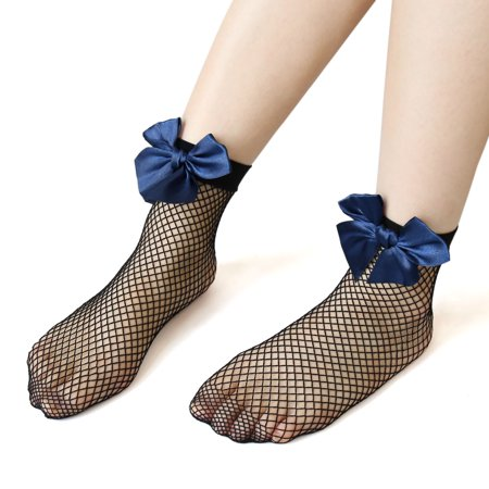2 Pairs Ankle Fishnet Elastic Sock Bowknot Mesh Stocking Blue Black