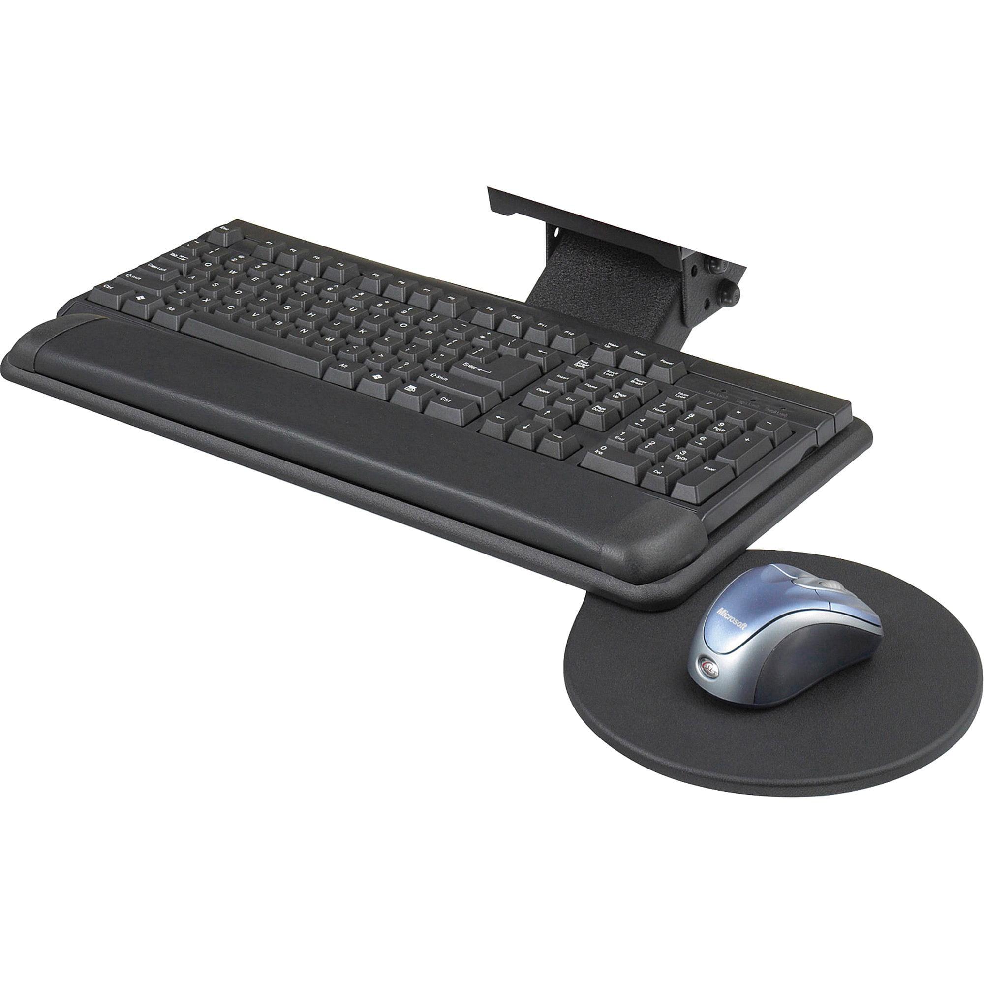 Safco, SAF2135BL, Swivel Mouse Tray Adjustable Keyboard Platform, 1, Black