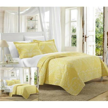 Yellow Quilt Set - Chic Home QS3422-US Pastola Reversible Printed Quilt Quilt Set - Yellow - Queen - 3 Piece