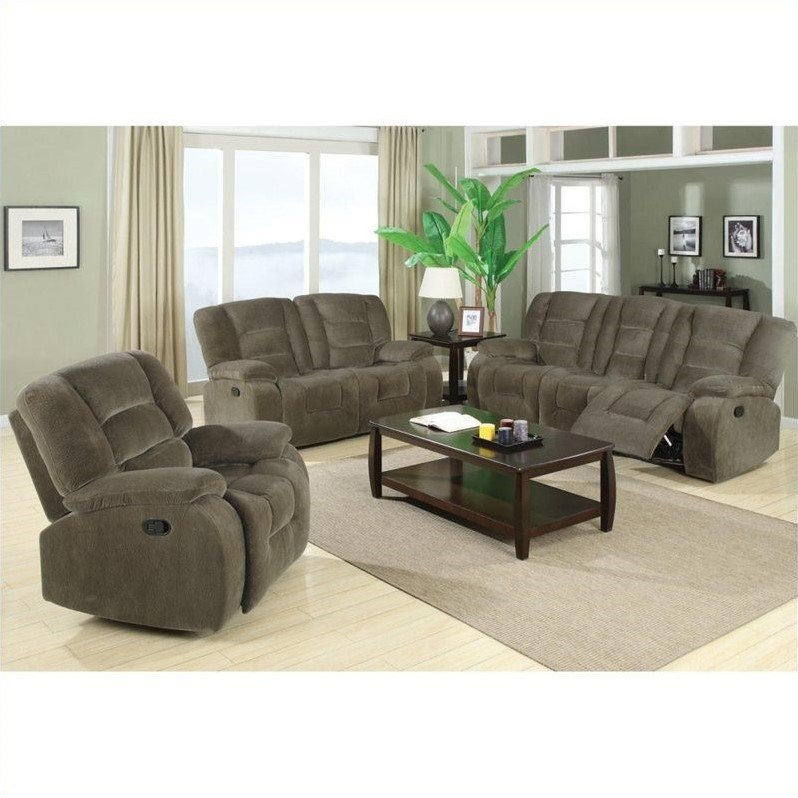 Nice Coaster Charlie Motion 3 Piece Reclining Sofa Set