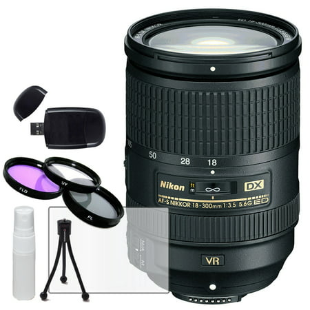 Nikon AF-S DX 18-300mm f/3.5-6.3G ED VR Lens + HD Filter Kit, Card Reader Table Top Tripod, LCD Screen Protector Lcd Camera Lens