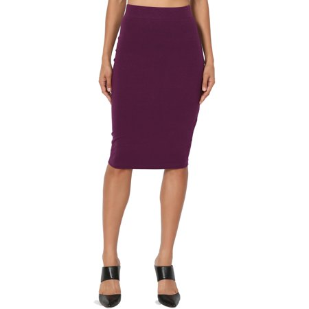 TheMogan Women's S~3X Elastic High Waist Stretch Cotton Knee Pencil Midi (Petite Tweed Pencil Skirt)