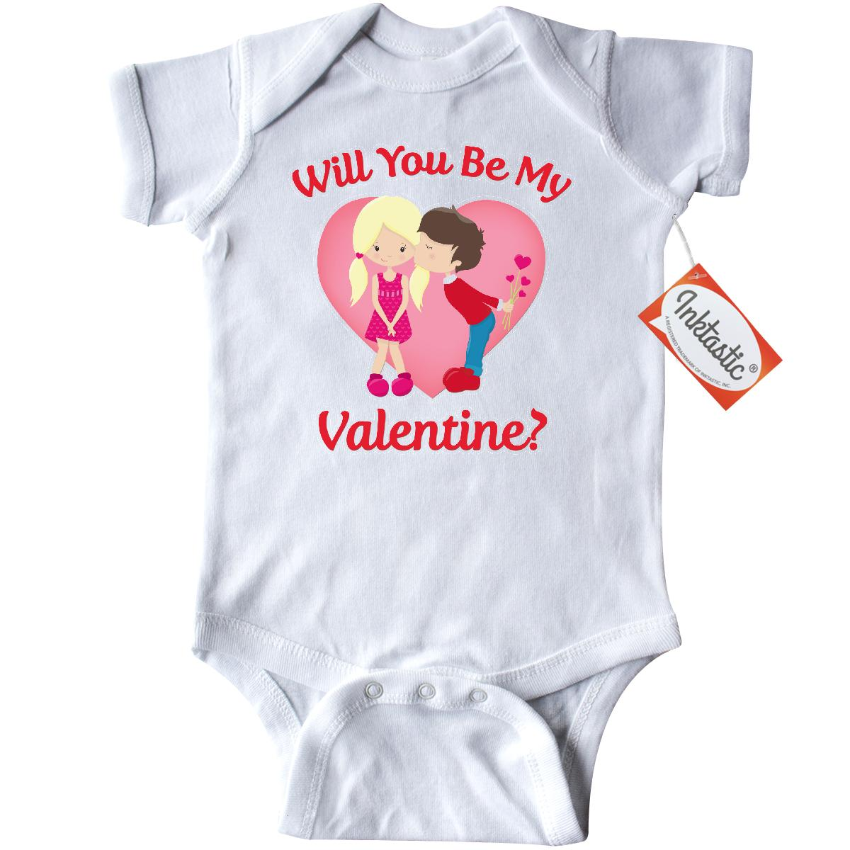 Inktastic Will You Be My Valentine Infant Creeper Baby Bodysuit valentines day boy girl kiss heart love hearts red pink chocolate roses flowers mine gift one-piece
