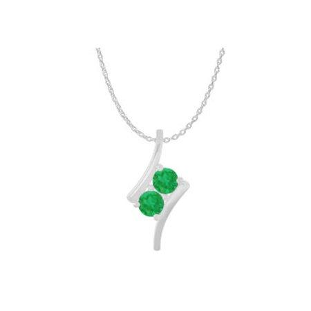 0f9b28faeb4d5 Two Stone Emerald Freeform Pendant 925 Sterling Silver
