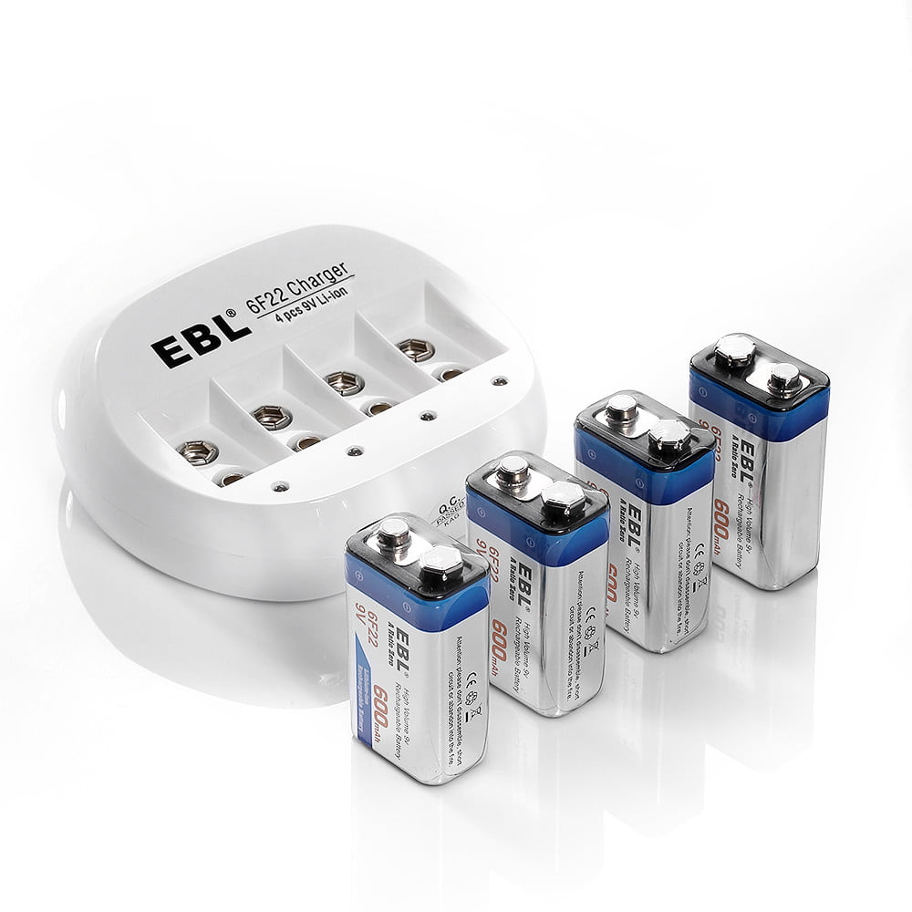 Ebl 4 Pack 600mah 9v 6f22 Lithium Ion Rechargeable Batteries 4 Bay