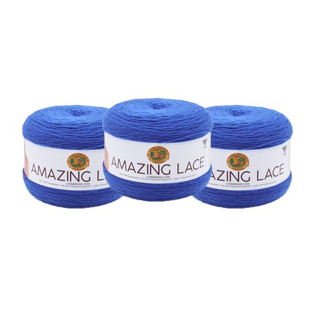 Lion Brand Yarn 213-110AL AMAZING LACE Cobalt Butterfly 3 Pack Lace Weight Yarn Lions Ladies Paint