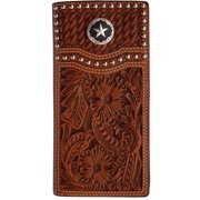 3D Western Wallet Men Leather Rodeo Studs Star Overlay Tan W283
