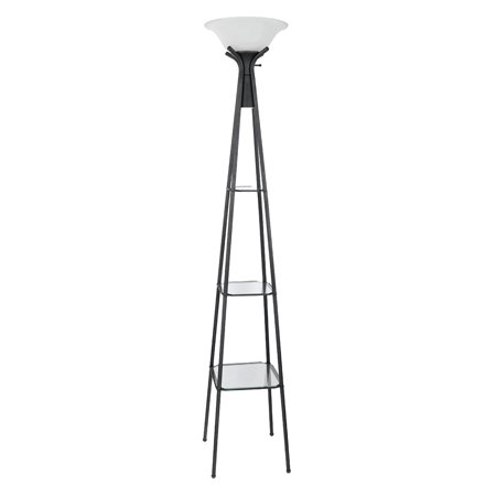 - Coaster Company Floor Lamp, Charcoal Black Finish with Frosted Glass Shade