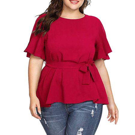 Starmoon Women's Solid Plus Size Short Sleeve Shirt Belted Knot Blouse Tops Belted Blouse Top
