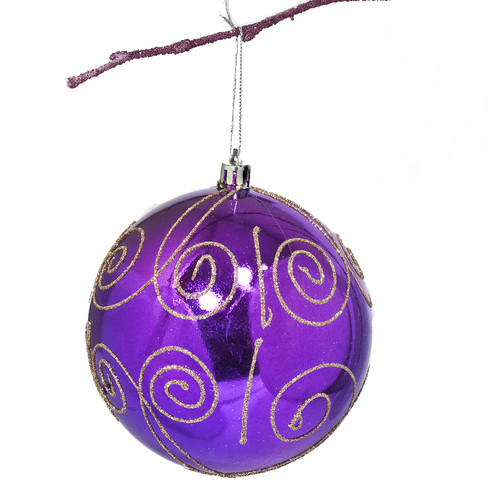 Perfect Holiday 3.9'' Shatterproof Handpainted Scroll Christmas Ball Ornament