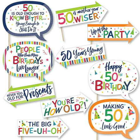 Funny 50th Birthday - Cheerful Happy Birthday - Colorful Fiftieth Birthday Party Photo Booth Props Kit - 10 Piece ()
