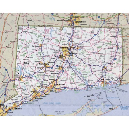 - Laminated Map - Large detailed roads and highways map of Connecticut state with all cities Poster 24 x 36