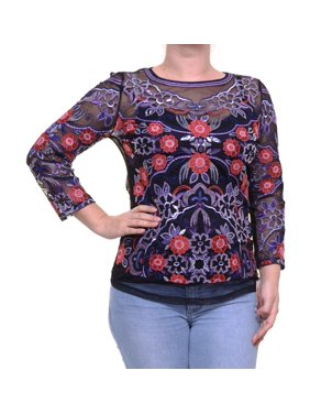 a47ffc761cce7 Product Image INC International Concepts Deep Black Top Blouse 3 4 Sleeve  Size M NWT - Movaz