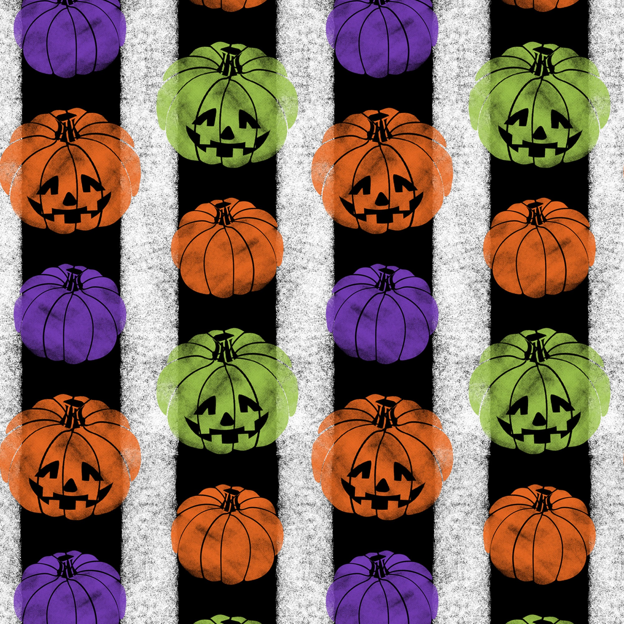 DAVID TEXTILES PUMPKIN STRIPE BLACK 1 YD. CUT COTTON FABRIC