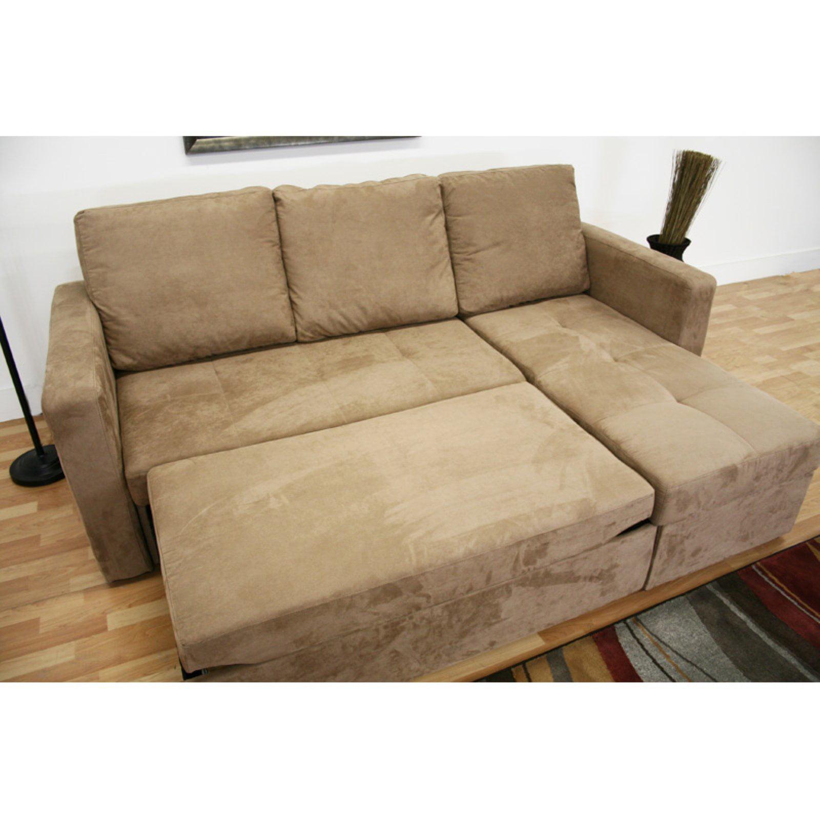 Baxton Studio Linden Tan Microfiber Convertible Sectional Sofa