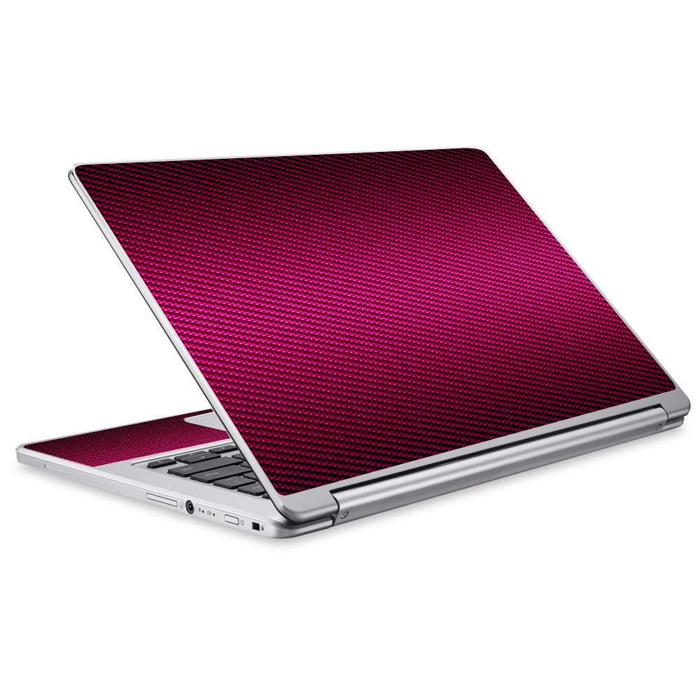 Skins Decals For Acer Chromebook R13 Laptop Vinyl Wrap / Pink,Black Carbon Fiber Graphite