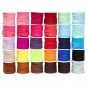 30 Pack 5.5 Yards Each, 2.8mm Faux Suede Leather Cord String Rope Thread Flat Roll for Jewelry Making Bracelet Necklace Beading DIY Crafts, 30 Colors