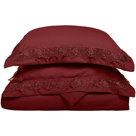 Superior Executive 3000 Series Solid Regal Lace Brushed Microfiber Embroidery 3-Piece Duvet and Pillowcase Cover Set - Full/Queen - Burgundy