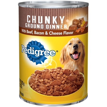 (12 Pack) PEDIGREE Chunky Ground Dinner With Beef, Bacon & Cheese Flavor Adult Canned Wet Dog Food, 22 oz. Can