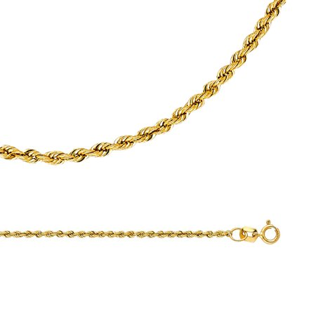 Rope Necklace Solid 14k Yellow Gold Chain Hollow Diamond Cut Twisted Style Light Thin, 1.5 mm - 16,18,20,22,24 inch
