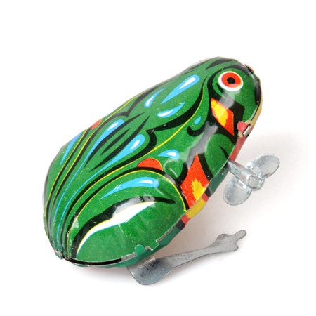 Children Vintage Clockwork Jumping Frog Metal Wing-up Metal Toys as Gifts Color:As shown