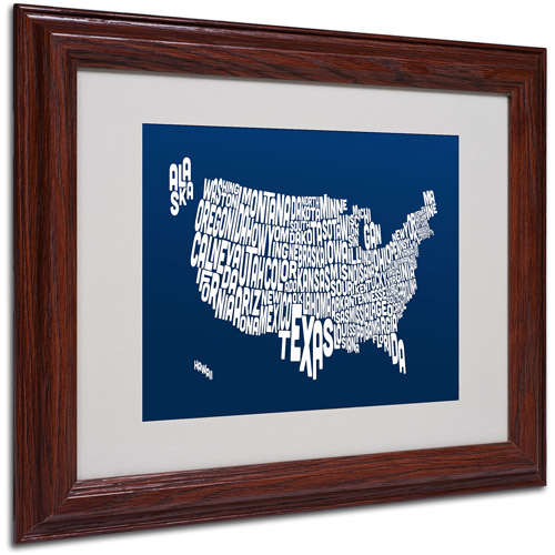 "Trademark Fine Art ""NAVY-USA States Text Map"" Matted Framed by Michael Tompsett"
