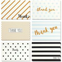 Thank You Cards - 48-Count Thank You Notes, Bulk Thank You Cards Set - Blank on the Inside, Retro Designs ? Includes Thank You Cards and Envelopes, 4 x 6 Inches