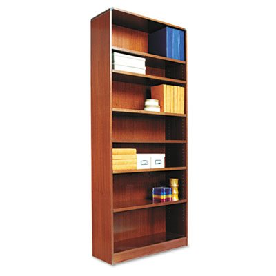 Alera BCR78436MC Radius Corner Wood Bookcase, Seven-Shelf, 35-5/8 x 11-3/4 x 84-Inch, Medium Cherry