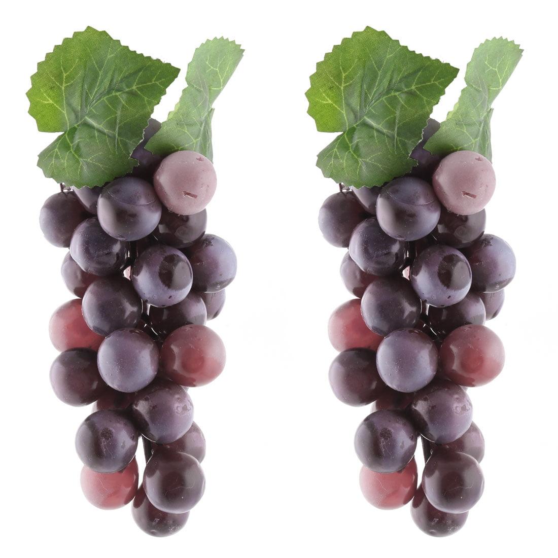 Plastic Desk Table Decoration Simulation Artificial Fruit Grape Purple 2 Pcs
