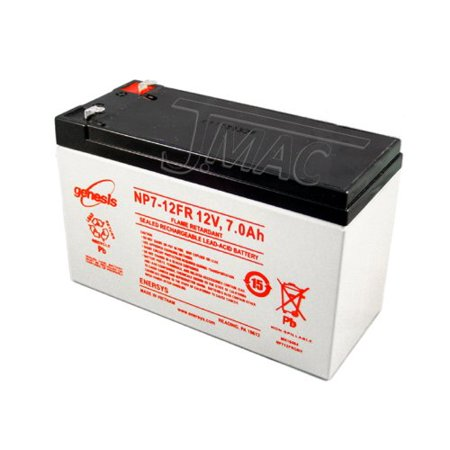 - Genesis NP7-12FR - 12 Volt/7 Amp Hour Sealed Lead Acid Battery with .187 Fast-on Connector - Flame Retardant Case