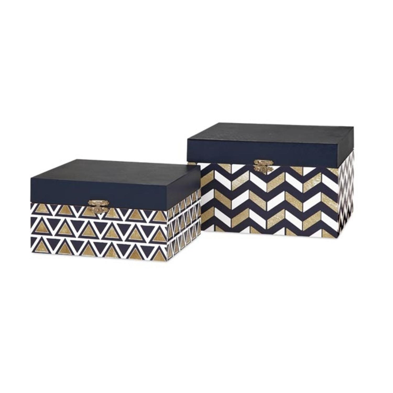 Set of 2 Navy Blue Metallic Gold and Classic White Chevron Patterned Decorative Wooden Storage Boxes 8""