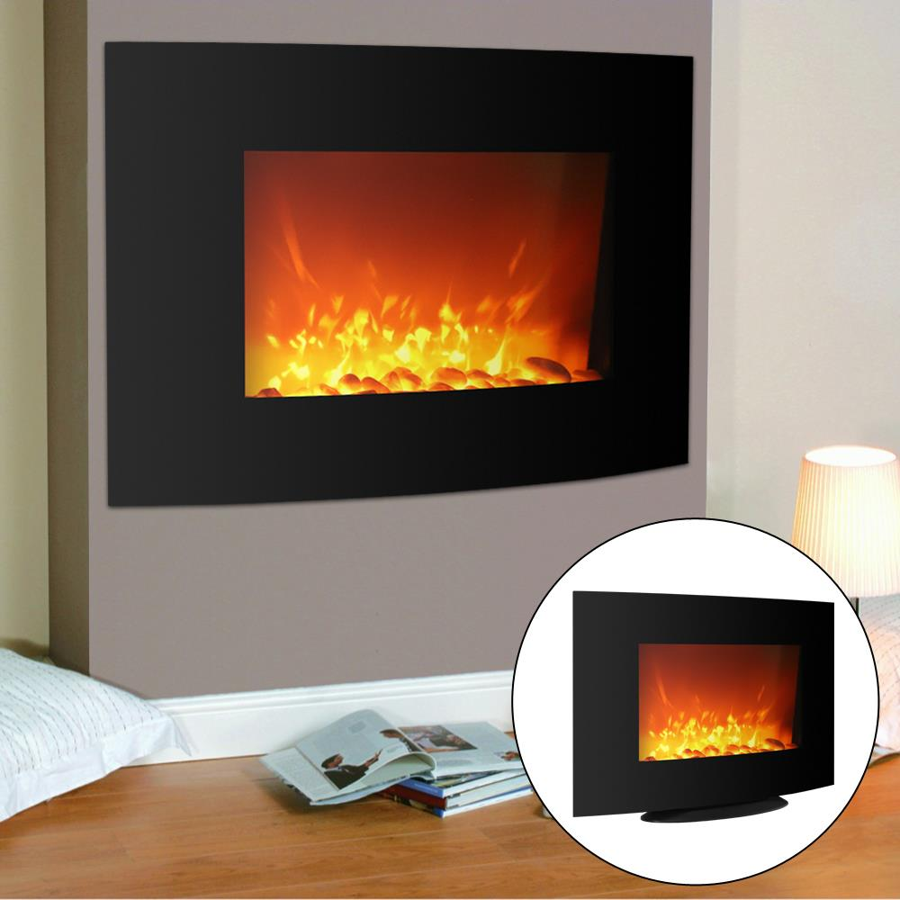 "Ktaxon Electric Fireplace Black 36"" Wall Mount /Free Standing Heater flame W/ Adjustable Heating New"