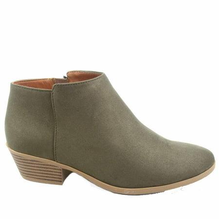 - Mug-s Women's Fashion Low Chunky Heel Zipper Almond Toe Ankle Booties Shoes