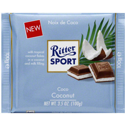 Ritter Sport Coconut Chocolate Bar, 3.5 oz, (Pack of 12)