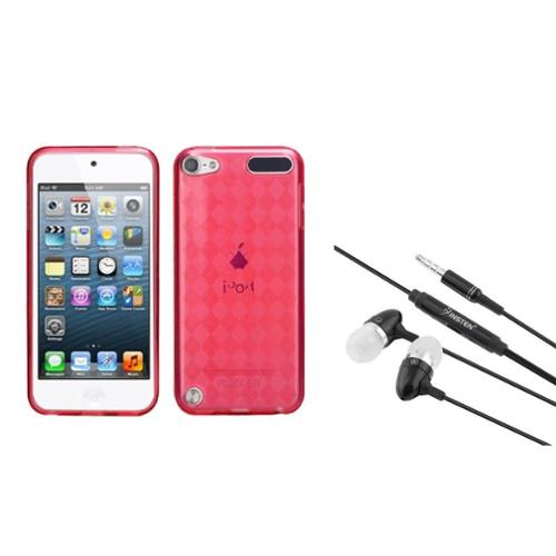 Insten T-Red Argyle Pane Candy Skin Cover Case For iPod Touch 6 6G / 5 5G + 3.5mm Headset