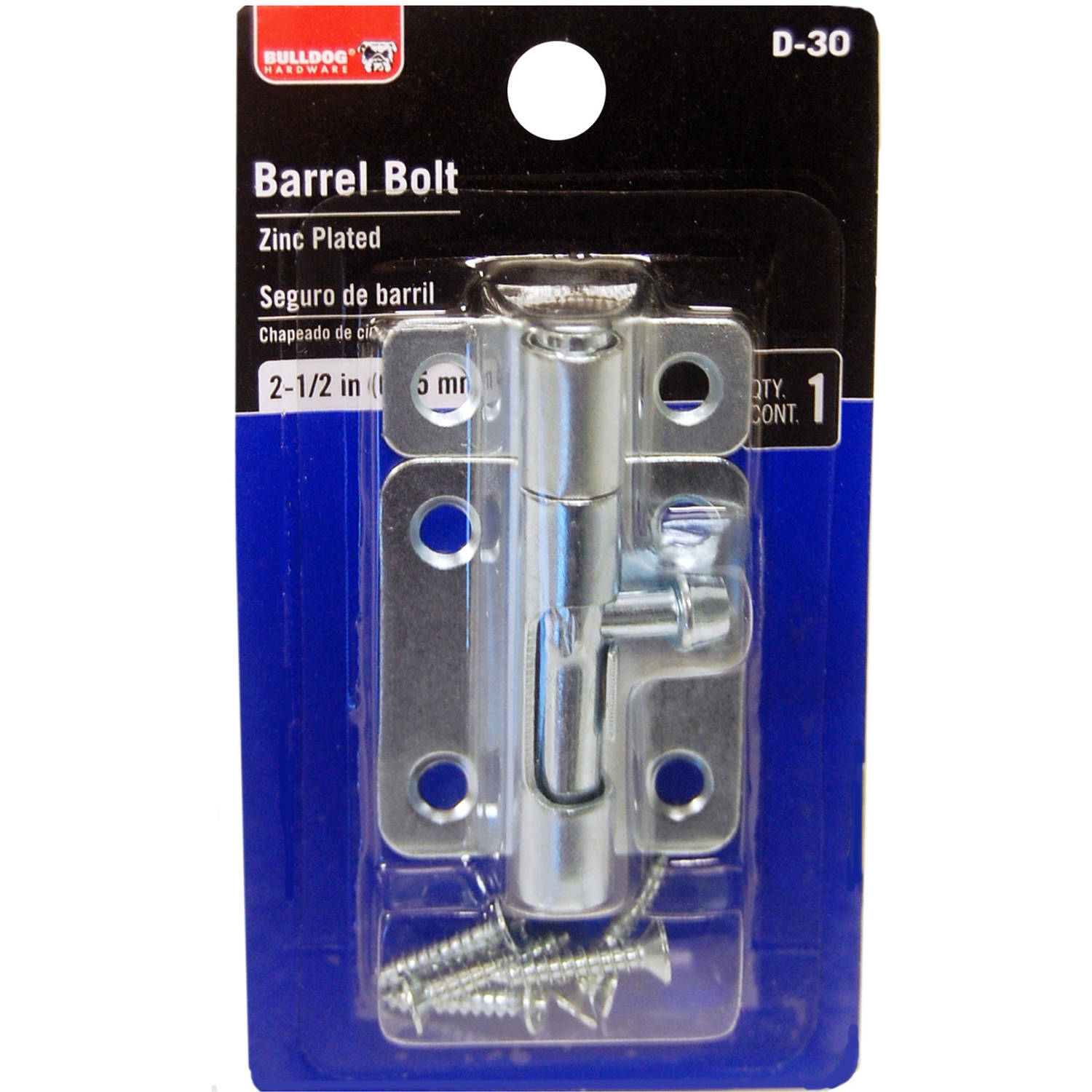 "Bulldog Hardware 2.5"" Barrel Bolt, Zinc"